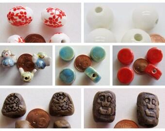 Perles porcelaines modèles divers Galets Ovale fleurs Ange Rondes DIY création bijoux déco terre cuite antique visage