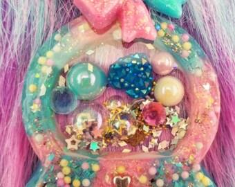 Kawaii Blue and Pink Liquid-filled Snowglobe Shaker Purse charm