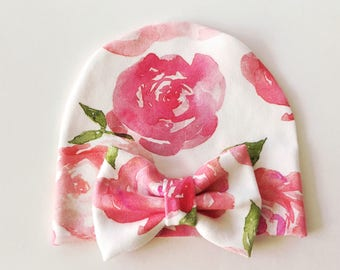 Baby Girl Organic Pink Floral Watercolor Newborn Bow Hospital Hat Beanie