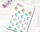 Kawaii Style Fitness Planner Stickers, Step Counter, Exercise Planner, Exercise Reward, Reminders, Weightloss Stickers.