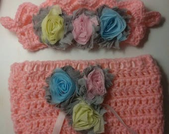 Diaper cover & crown with shabby chic  flowers