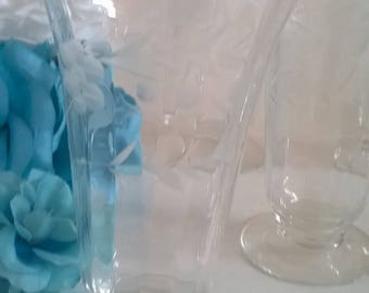 Set of 6  Water Champagne Flutes Wine Goblets with Flowers Design Footed Glasses For Champagne, Water Glasses