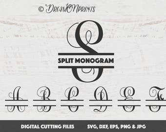 Split Monogram Svg, Split Letter Monogram, Split Font Svg, Split Alphabet Svg, Split Svg, Cricut, Silhouette Cut Files, Letters SVDL003