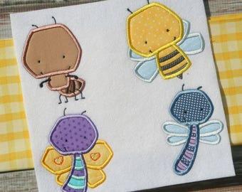 Little Bugs Applique - 8 Different Applique Machine Embroidery Designs 4x3 5x7 6x10