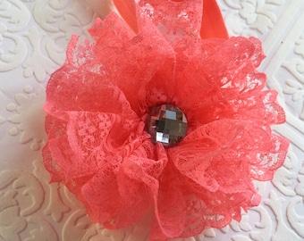 Pink headband, Lace headband, infant headband, newborn headband, pink lace headband, baby headband, watermelon baby headband, watermelon