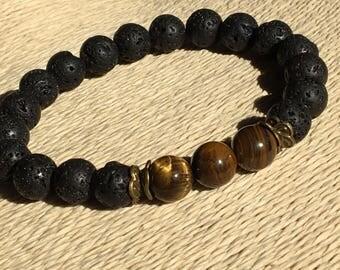 Tiger Eye 10mm,Large Wrist Black,Mens Bracelet 10mm,Meditation Mens Yoga,Lava Gemstone 10mm,Large Mens Jewelry,Tiger Eye Bracelet Brown Chic