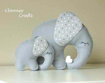 Elephant Nursery Decor, Felt Elephant Nursery Decor, Nursery Ornament,  Grey Felt Elephant. Ready to Ship