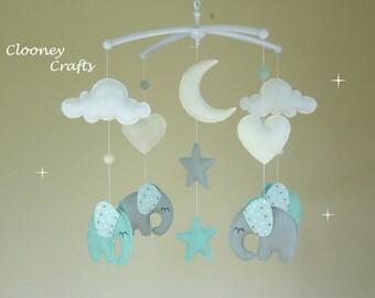 Elephant Baby Mobile, Musical Elephant Baby Mobile, Musical Cot Mobile, Mint and Grey Felt, Music Box, Cot Arm / Bracket, Nursery Decor