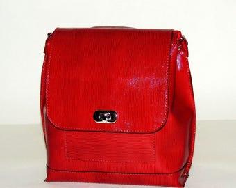 "Burgundy leather backpack ""Lilla"""