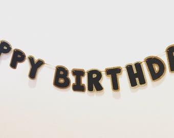 Happy Birthday banner; Black and gold banner; birthday banner; customized birthday banner; glitter birthday banner