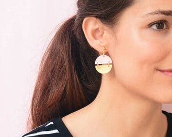 Gold and Light Pink Leather Earrings