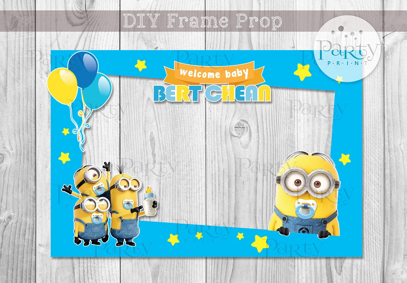 Print it yourself digital copy minions inspired baby shower diy print it yourself digital copy minions inspired baby shower diy photo frame solutioingenieria Images