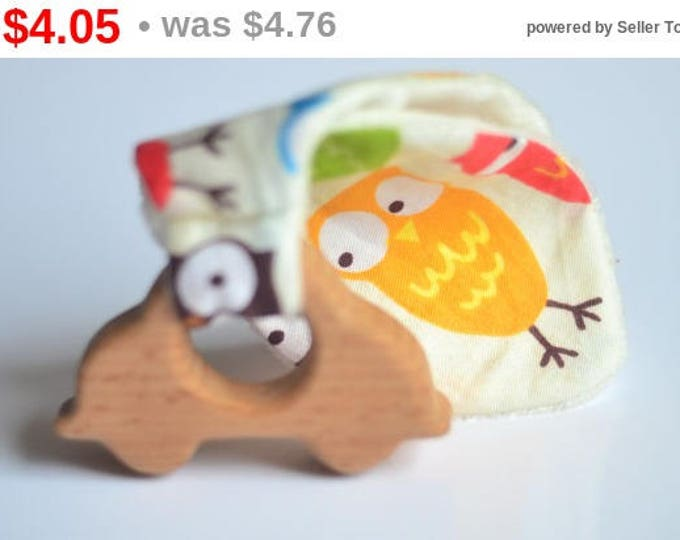 car teething toy wooden teether car baby boy toy car bunny ears teething toy gift for kids unique baby shower gift cute owl gift car wooden