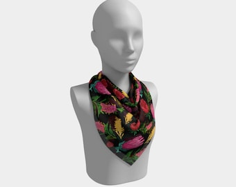 "26""x26"" - Beautiful Australian Native Floral Print - Gorgeous Protea and Grevillea - Cute Square Scarf"