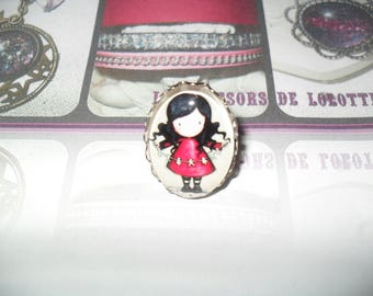 Beautiful little girl ORIGAMI oval cabochon ring