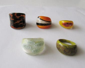 5 Vintage Mod Glass Rings Murano Style Boho Ring