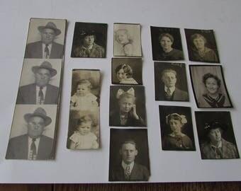 Vintage Lot 13 Photo Booth Snapshot Children Women Men