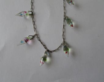 Vintage Aurora Borealis Crystals Drop Necklace Silver Chain Crystal