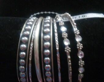 7 silver stackable bangle bracelets