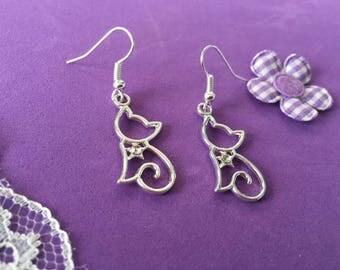 Cat Earrings, Cute Cat Earrings, Silver Plated Cat Earrings