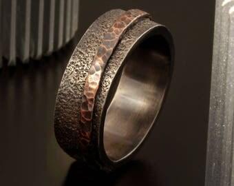 Men's wedding Band, Men's Wedding Ring, Silver Copper Ring, Wide Men Wedding Band, 8 mm Ring, Men's Rustic Ring, Men's Gift, RS-1244