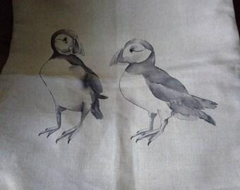 Puffin Cotton/Linen cushion cover