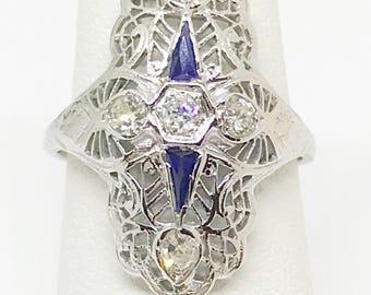 Art Deco Natural Diamond Blue Sapphire Ring 18k White Gold