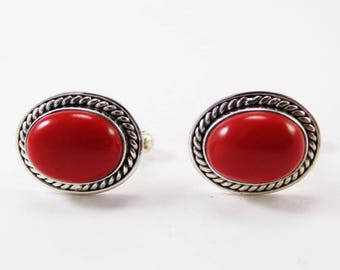 Coral Cufflinks 925 Sterling Silver Mens Jewelery
