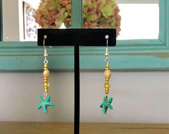 Starfish ocean beach dangle earrings