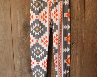 3/4T Grey Aztec Joggers, Leggings, Baby Toddler Pants, Fall