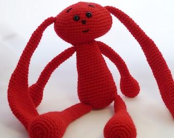 Crochet bunny/crochet rabbit/crochet bunny toy/crochet red hare/crochet red rabbit