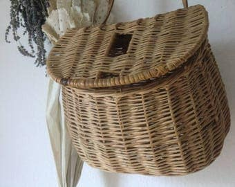 French vintage old wicker fishing basket basket switch shabby french