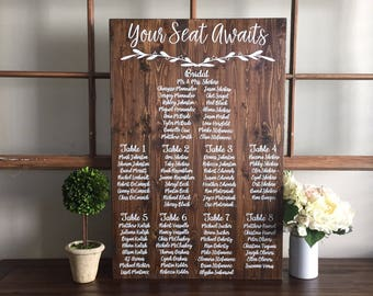 Wedding Seating Chart Sign / Your Seat Awaits Wedding Seating Plan Sign / Alternative Wedding Find Your Table Seating Plan Sign