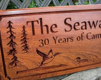 In the woods Family Established Sign -- Personalized Carved Family, Business, or Cabin Name Wood Sign -- Loons -- Geese