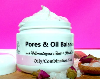 Pores & Oil Balance/Oily Skin Cream/Combination skin Cream /Pore minimizer with Himalayan Sea Salt and Rose Clay/Natural Handmade Skin Care