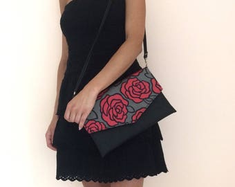 Roses print envelope clutch, crossbody clutch bag, detachable strap, floral clutch, pochette, handbag