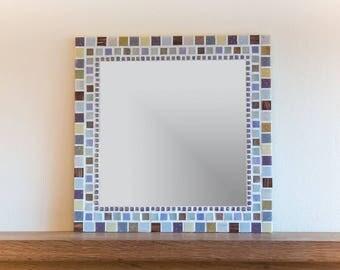 Mosaik Wandspiegel In Grau, Lila, Braun, Gold, Elfenbein Und Creme 40cm  Platz