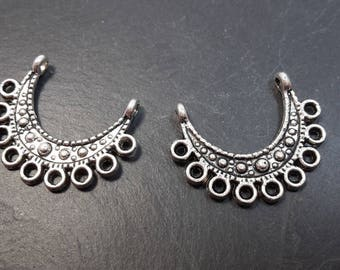 Candlesticks half moons, connectors, baba gypsy Bohemian ethnic bouble earrings, silver, 21 x 16 mm
