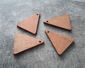 Wooden pendants, pendants triangle tribal ethnic jewelry, 30 x 20 mm, 2 pcs