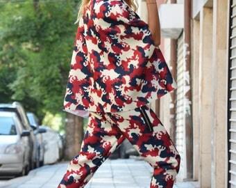 New Military Neoprene Maxi Set, Women Harem Pants, Extravagant Plus Size Jacket, Loose Sport Set by SSDfashion