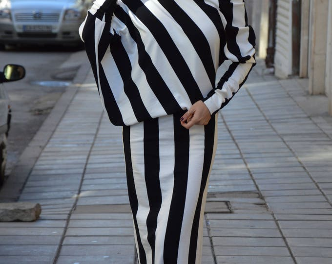 Plus size Striped Dress, Women's Summer Dress, Extravagant Assymetric Dress, Black And White Casual Dress by SSDfashion