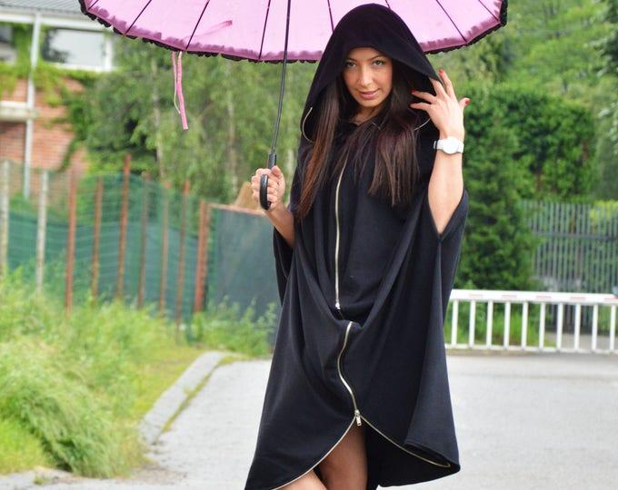 Plus Size Clothing, Black Hooded Jacket, Extravagant Sweatshirt With Zipper, Hooded Long Jacket by SSDfashion