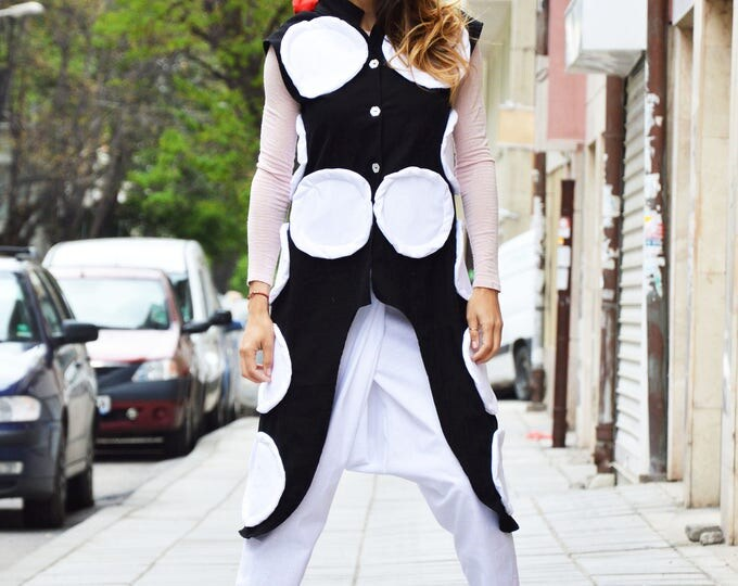 Asymmetric Black And White Vest, Extravagant Long Top, Unique Sleeveless Vest, Large Dots Linen Coat by SSDfashion