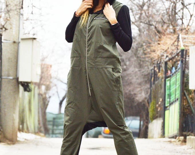 Military Hoodie Jumpsuit, Overall Cotton Romper, Long Zipper Jumpsuit Side Pockets, Maxi Black Hooded by SSDfashion