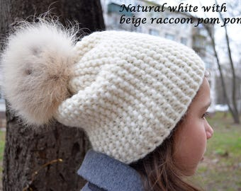 Slouchy white hat with fur pom pom, Knitted alpaca, wool beanie, Chunky knit hat, Teenager hat, Warm winter modern hat, Different colors