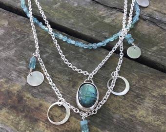 Labradorite Necklace  Sterling Silver  Multi Strand Necklace  Labradorite and Silver  Multi Chain Necklace  Labradorite Jewelry