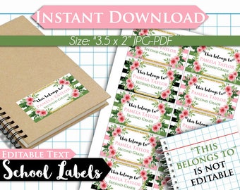 50% OFF SALE Floral Watercolor Back to School Name Labels - EDITABLE Text- Printable School Labels - Stickers - Tags