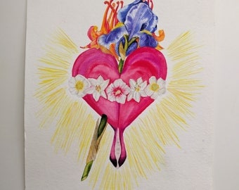 Botanical Immaculate Heart of Mary print