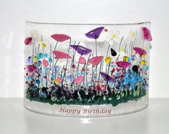 Handcrafted Fused Glass Art - Wildflower Happy Birthday Curve