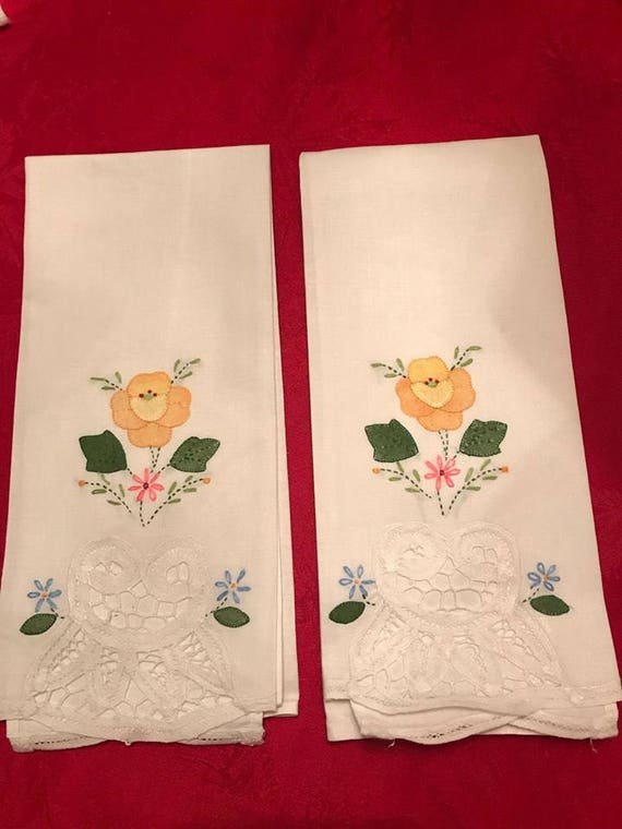 Vintage Finger Towels Yellow Floral - 2 Yellow Flower